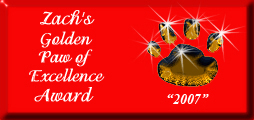 Zachs Golden Paw of Excellence Award